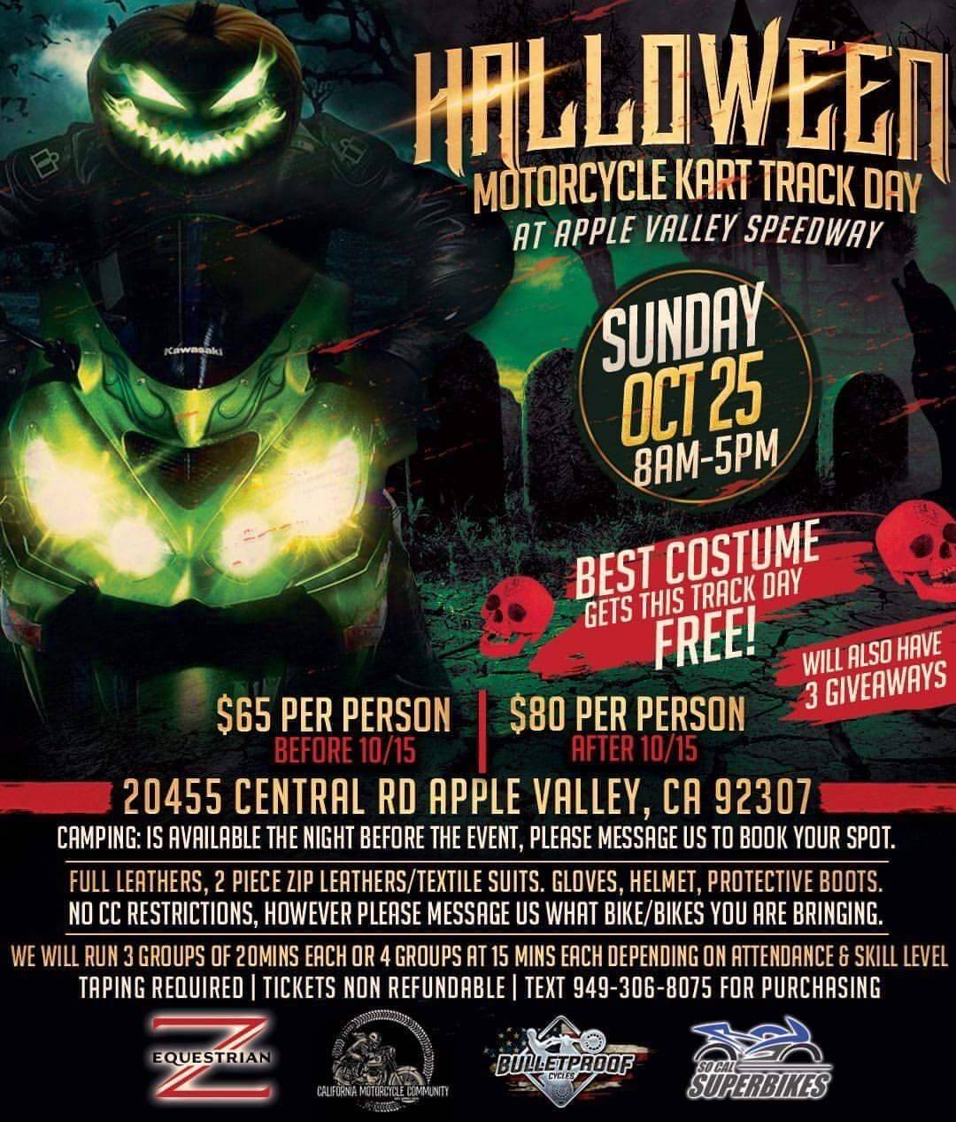 Halloween Motorcycle Kart Track Day