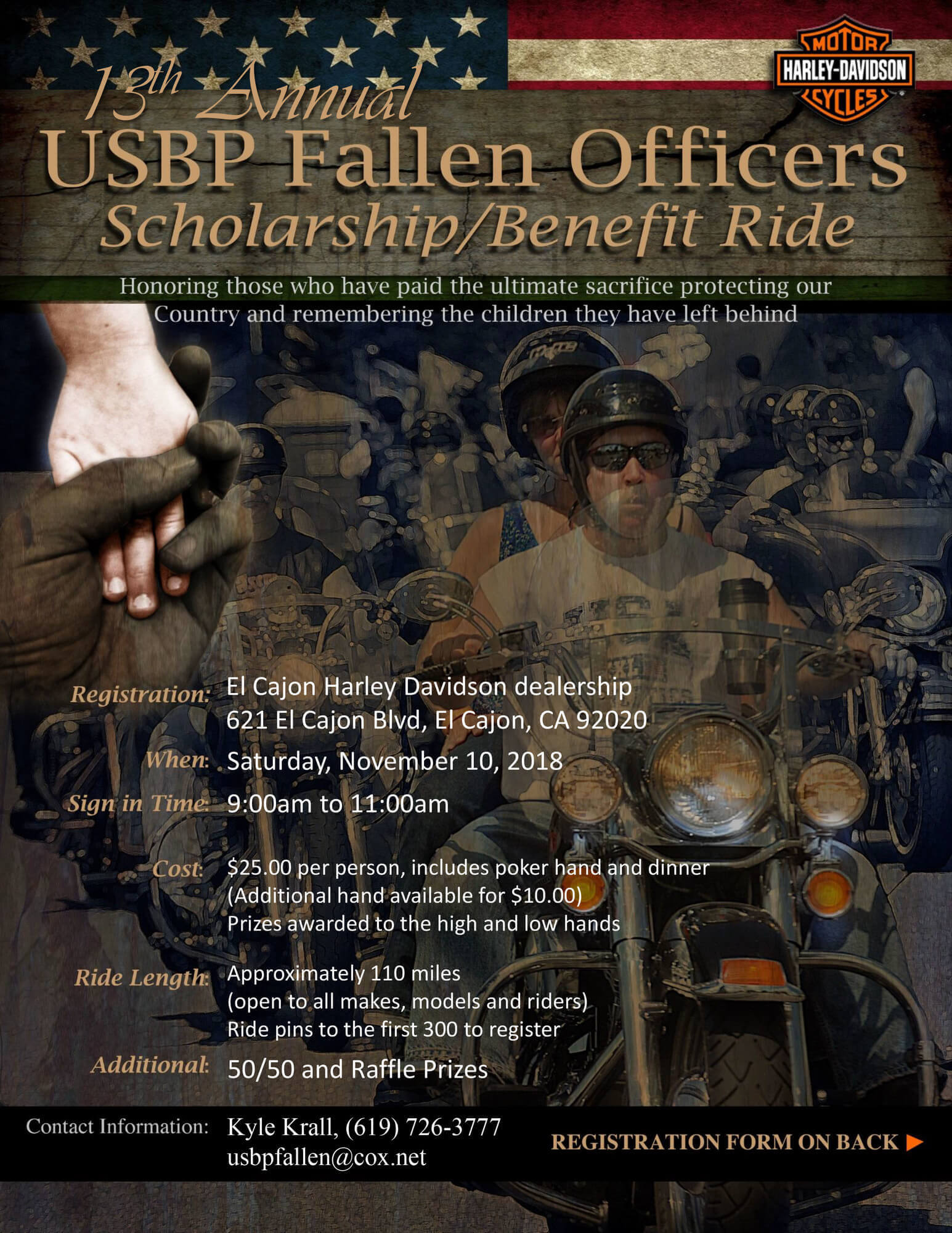 13th Annual USBP Fallen Officers Scholarship/Benefit Ride