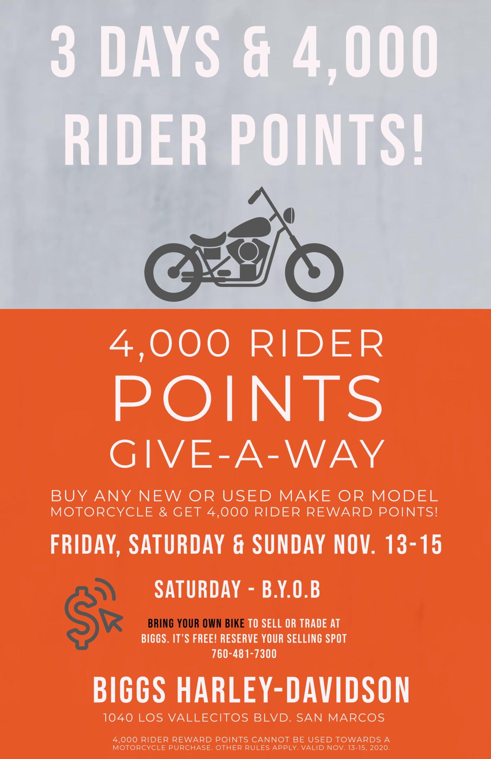 4,000 Rider Points Give-A-Way & BYOB