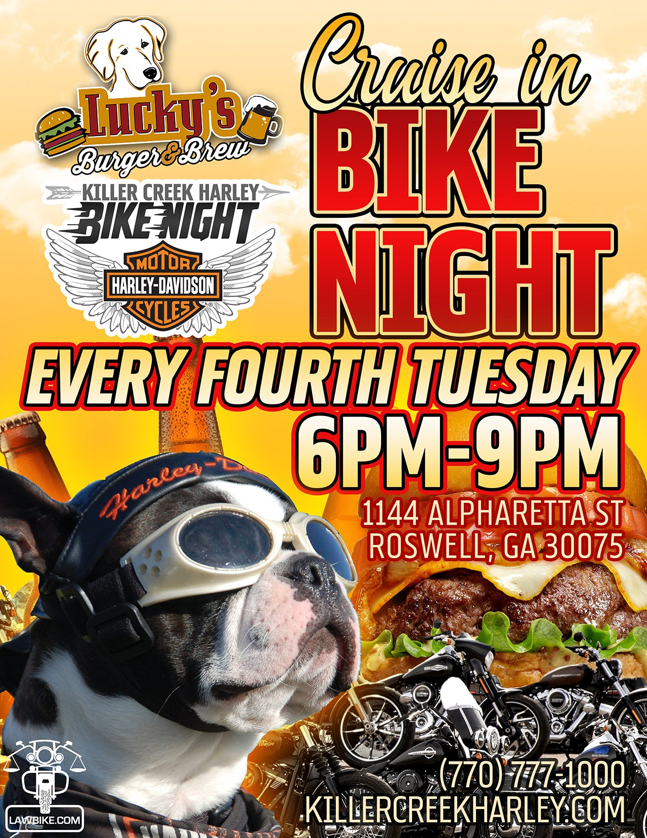 Killer Creek Harley Bike Night | Lucky's Burger & Brew