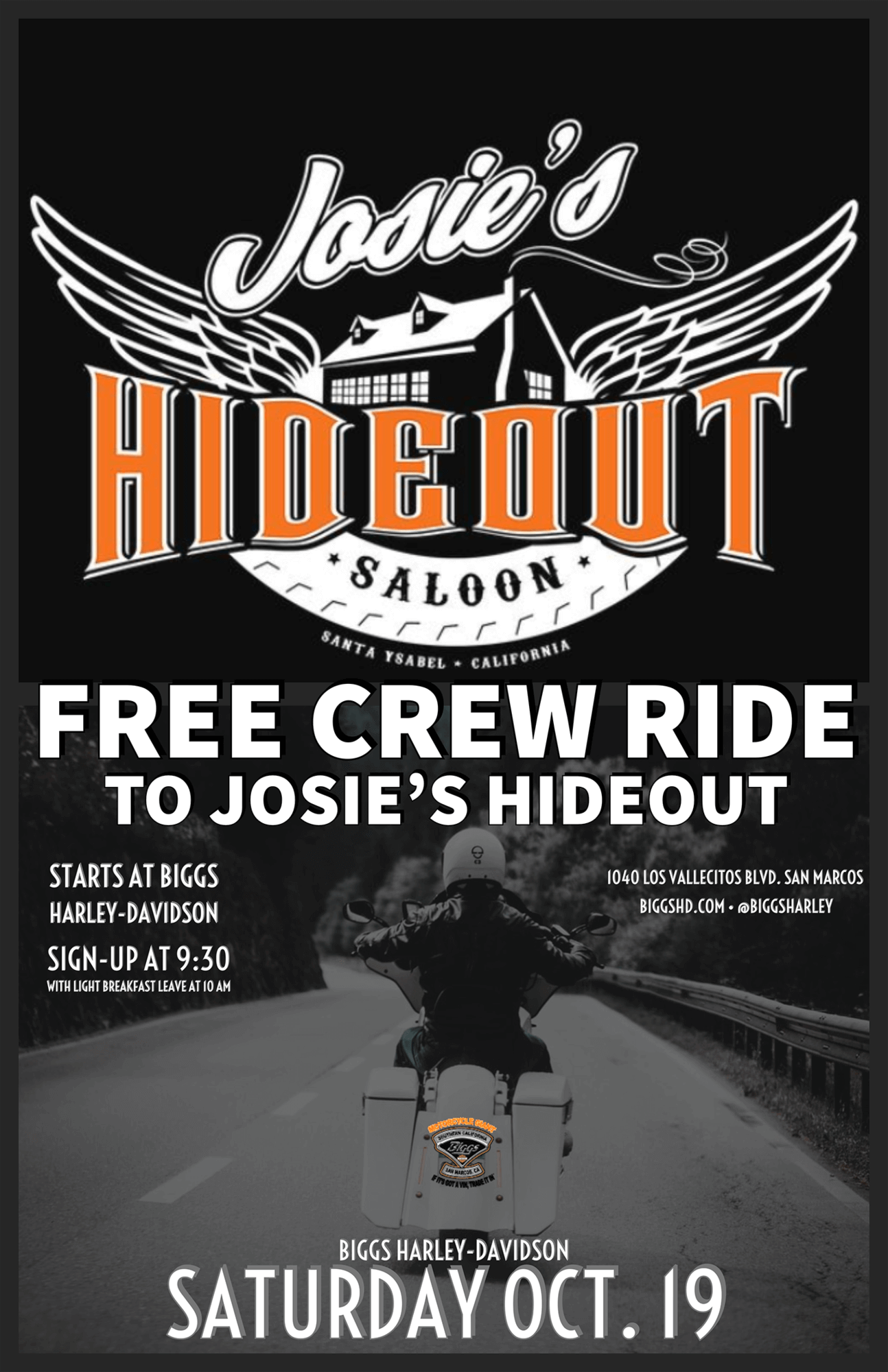 Free Crew Ride To Josie's Hideout Saloon