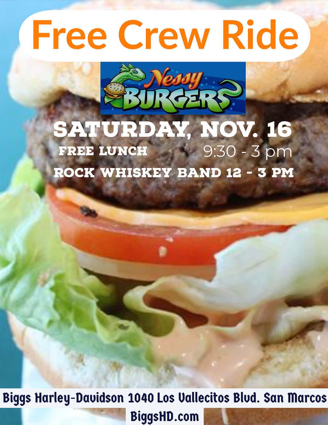 Free Crew Ride Nessy Burgers