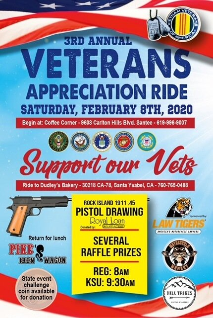 Clint's Ride Club And The 3rd Annual Vet Appreciation Ride