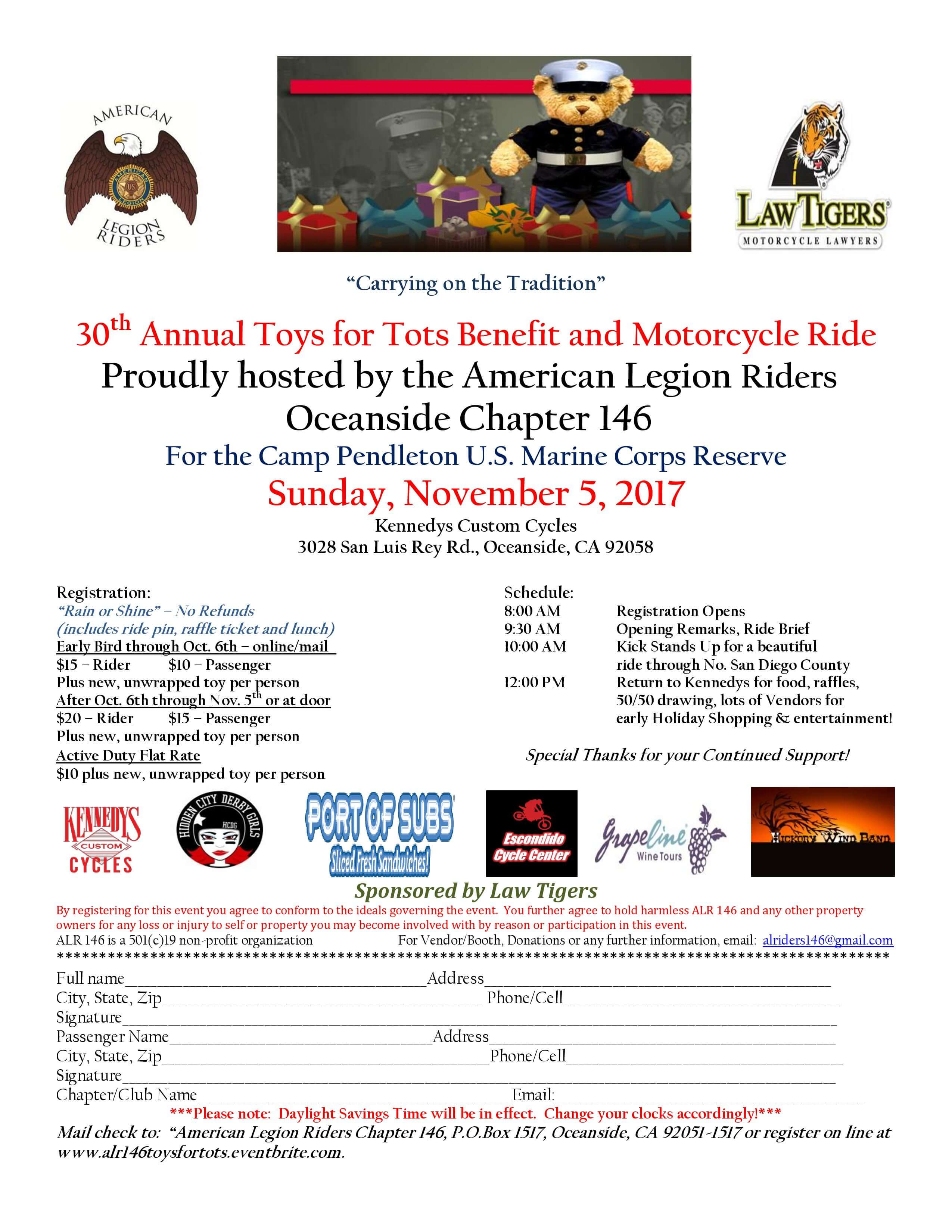30th Annual Toys for Tots Benefit and Motorcycle Ride